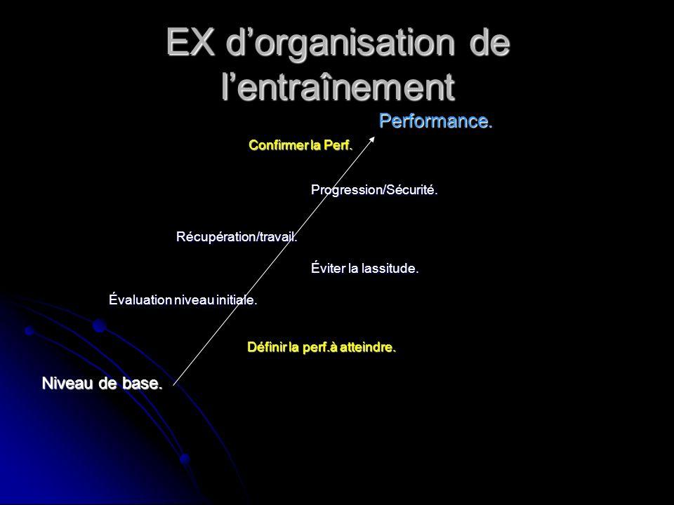 EX d'organisation de l'entraînement
