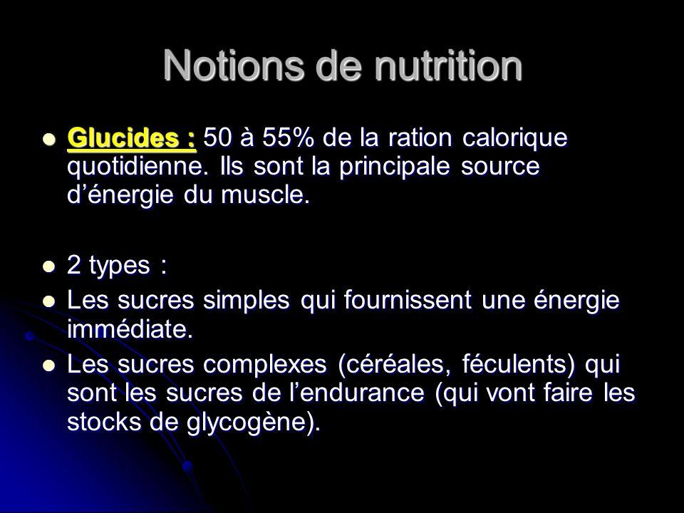 Notions de nutritionGlucides : 50 à 55% de la ration calorique quotidienne. Ils sont la principale source d'énergie du muscle.