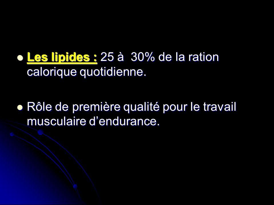Les lipides : 25 à 30% de la ration calorique quotidienne.