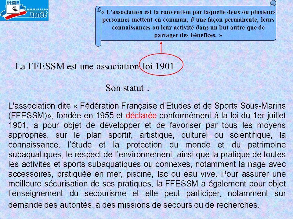 La FFESSM est une association loi 1901