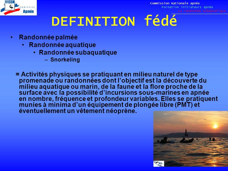 DEFINITION fédé Randonnée palmée Randonnée aquatique