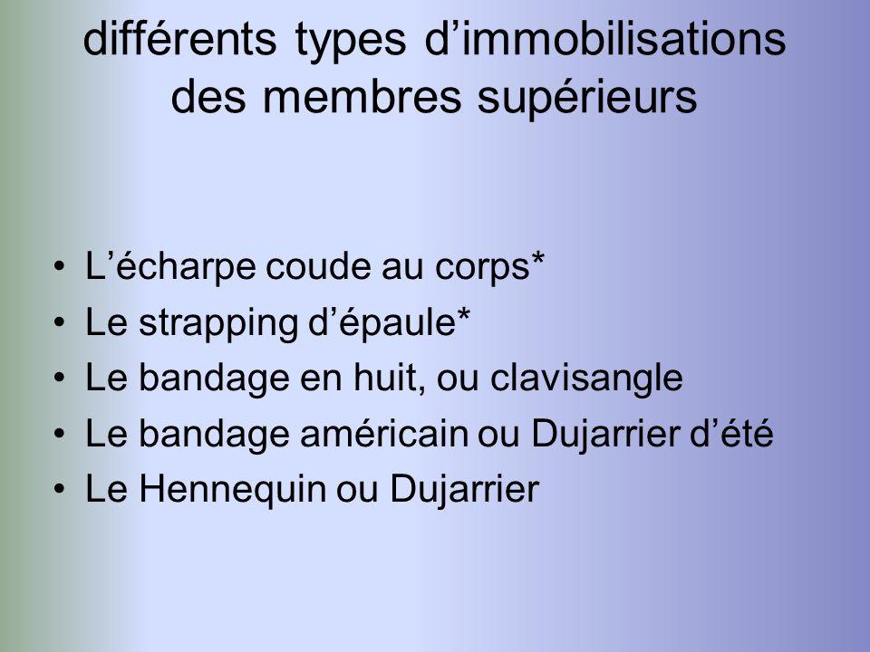 différents types d'immobilisations des membres supérieurs