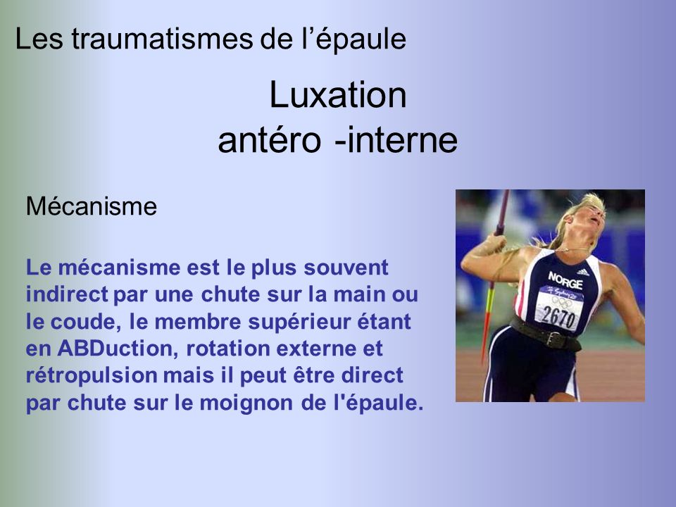 Luxation antéro -interne Les traumatismes de l'épaule Mécanisme