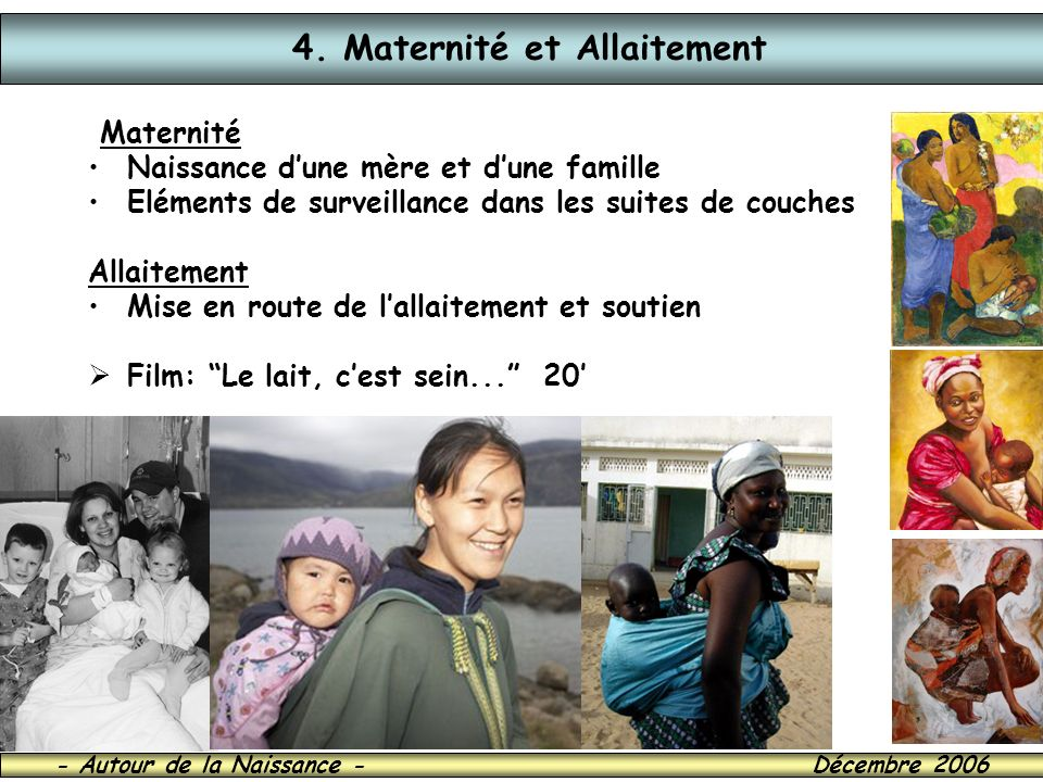 4. Maternité et Allaitement