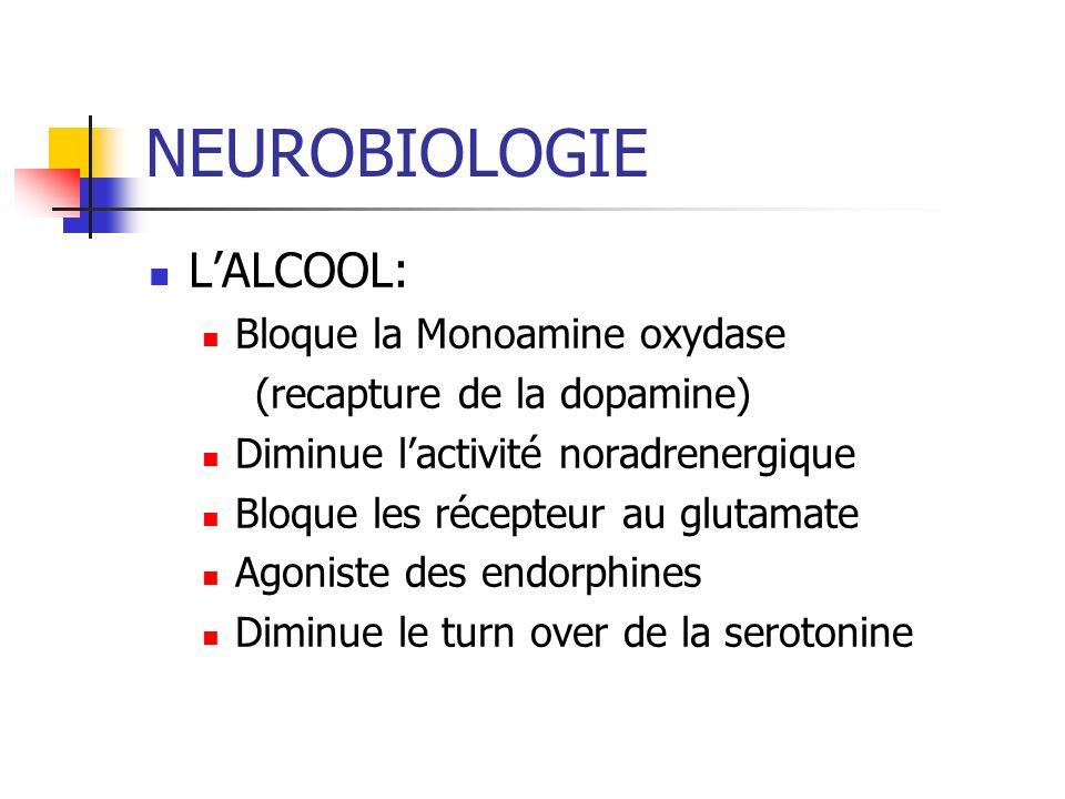 NEUROBIOLOGIE L'ALCOOL: Bloque la Monoamine oxydase
