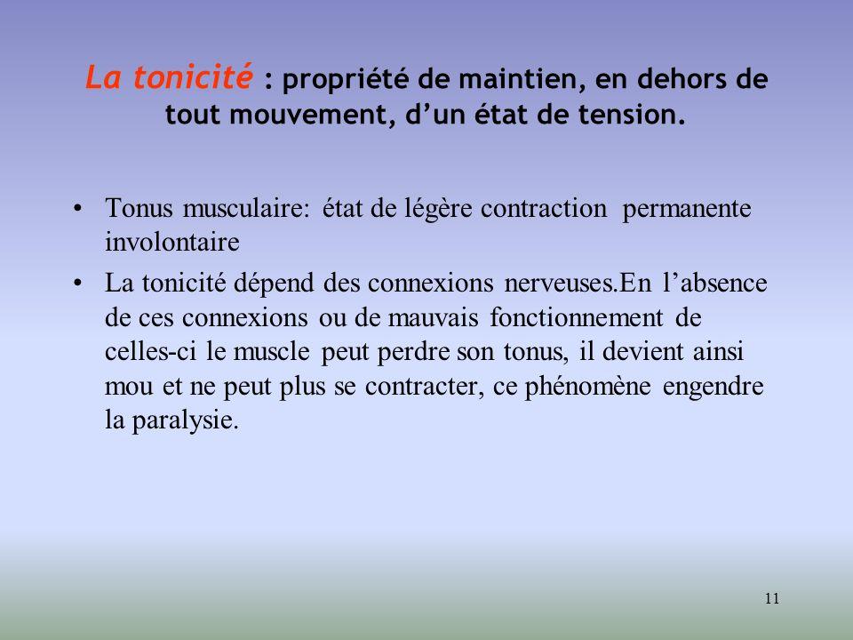 La tonicité : propriété de maintien, en dehors de tout mouvement, d'un état de tension.