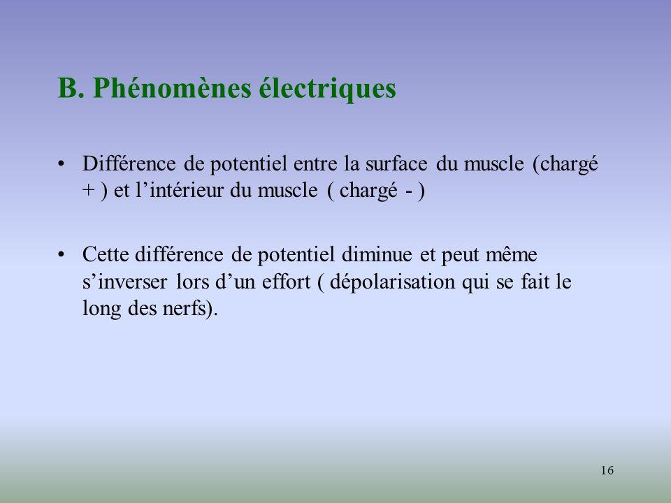 B. Phénomènes électriques
