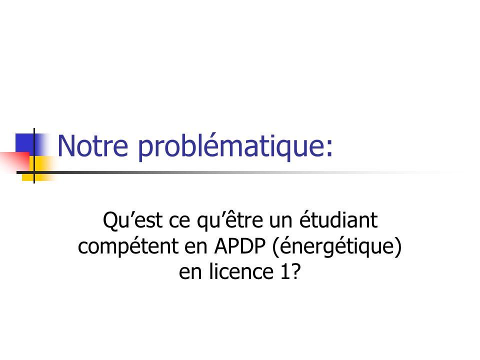 Notre problématique: Qu'est ce qu'être un étudiant compétent en APDP (énergétique) en licence 1
