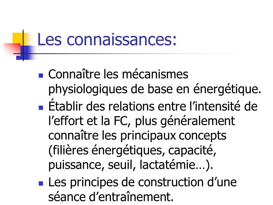 Les connaissances:Connaître les mécanismes physiologiques de base en énergétique.