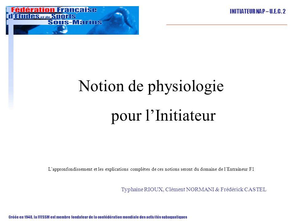 Notion de physiologie pour l'Initiateur