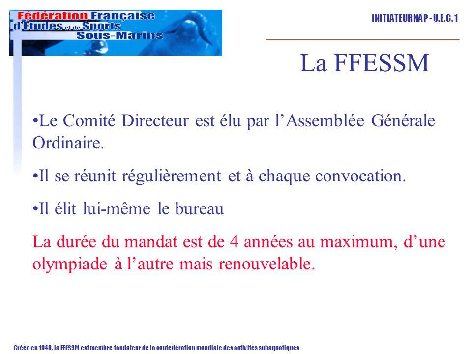 La FFESSM Le Comité Directeur est élu par l'Assemblée Générale Ordinaire. Il se réunit régulièrement et à chaque convocation.