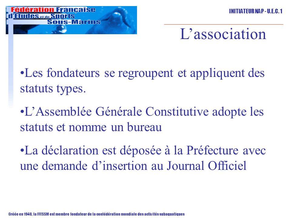 L'association Les fondateurs se regroupent et appliquent des statuts types. L'Assemblée Générale Constitutive adopte les statuts et nomme un bureau.