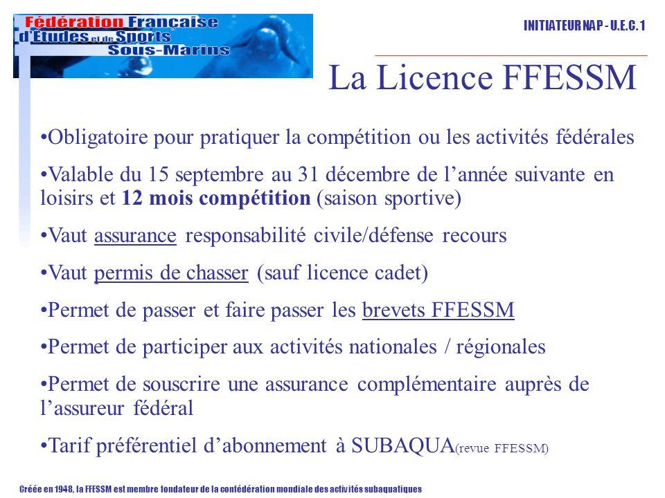 La Licence FFESSM Obligatoire pour pratiquer la compétition ou les activités fédérales.
