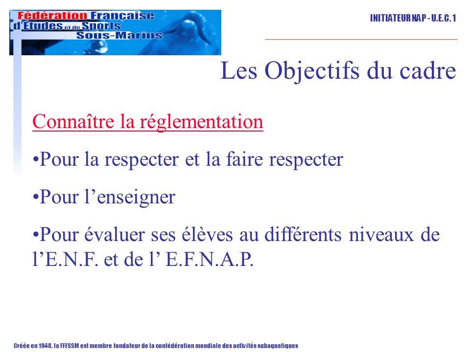 Les Objectifs du cadre Connaître la réglementation