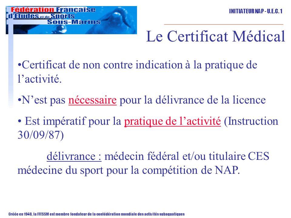 Le Certificat Médical Certificat de non contre indication à la pratique de l'activité. N'est pas nécessaire pour la délivrance de la licence.