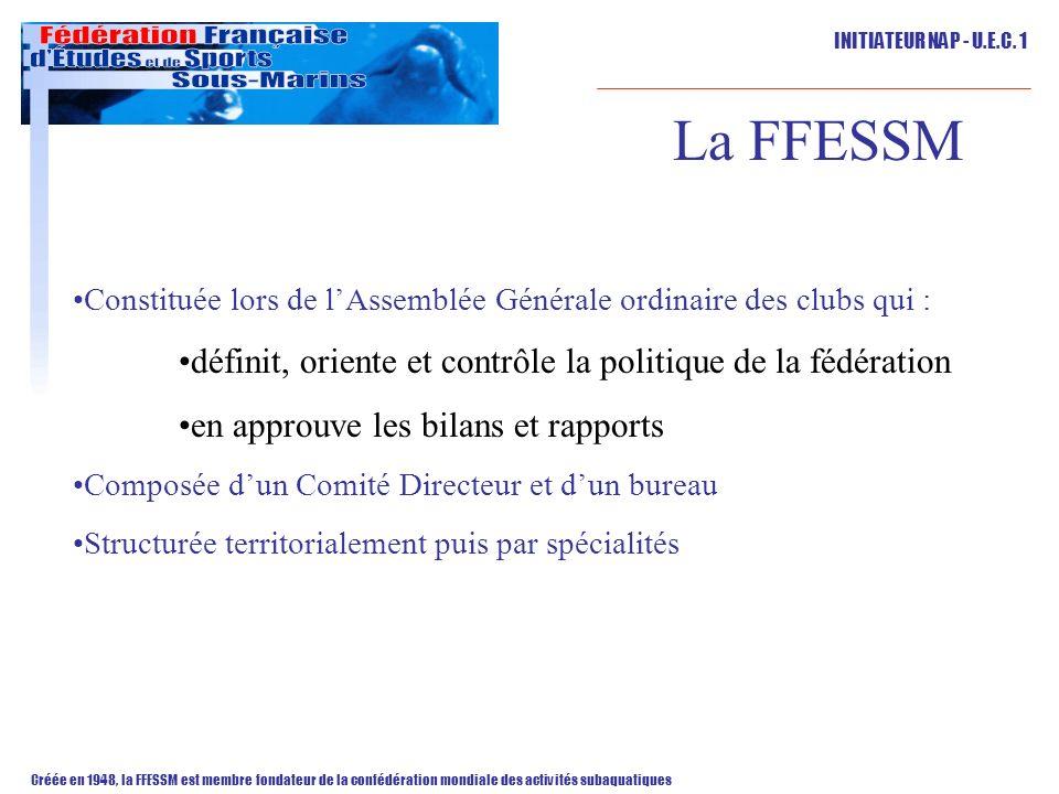 La FFESSM définit, oriente et contrôle la politique de la fédération