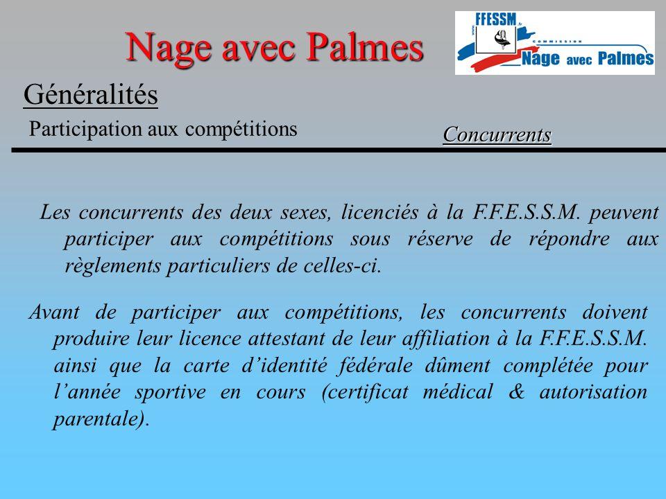 Nage avec Palmes Généralités Participation aux compétitions