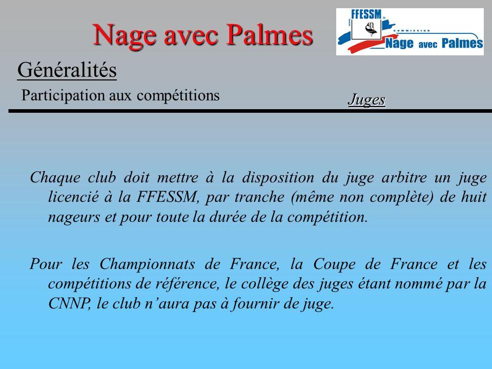 Nage avec Palmes Généralités Participation aux compétitions Juges