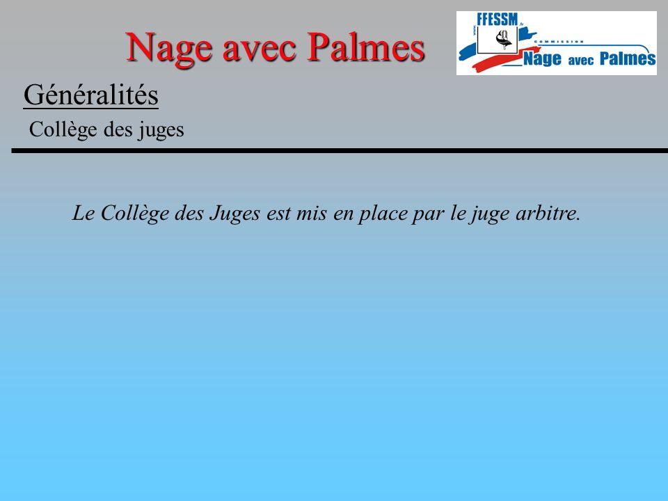 Nage avec Palmes Généralités Collège des juges