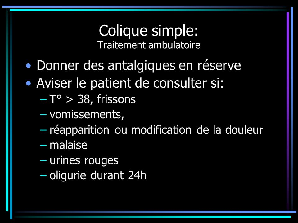 Colique simple: Traitement ambulatoire