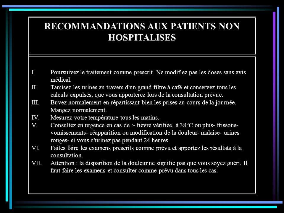 RECOMMANDATIONS AUX PATIENTS NON HOSPITALISES