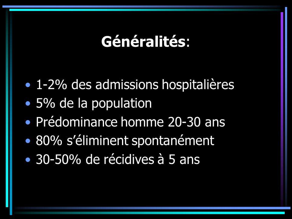 Généralités: 1-2% des admissions hospitalières 5% de la population