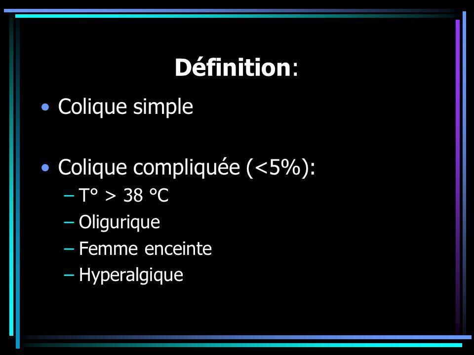 Définition: Colique simple Colique compliquée (<5%): T° > 38 °C