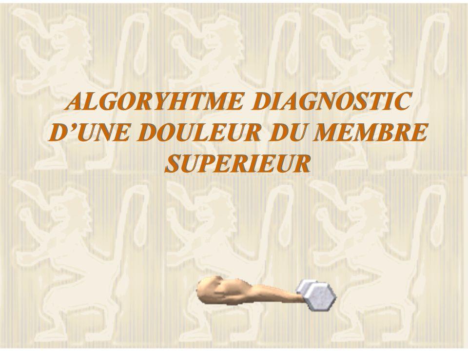 ALGORYHTME DIAGNOSTIC D'UNE DOULEUR DU MEMBRE SUPERIEUR