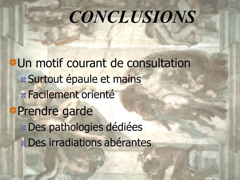 CONCLUSIONS Un motif courant de consultation Prendre garde
