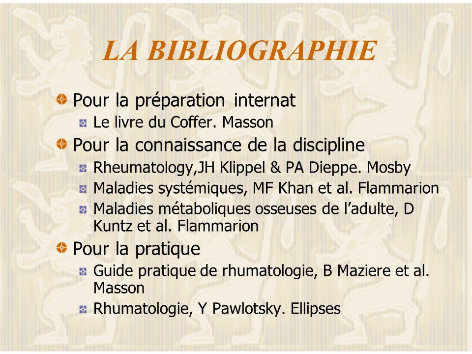 LA BIBLIOGRAPHIE Pour la préparation internat