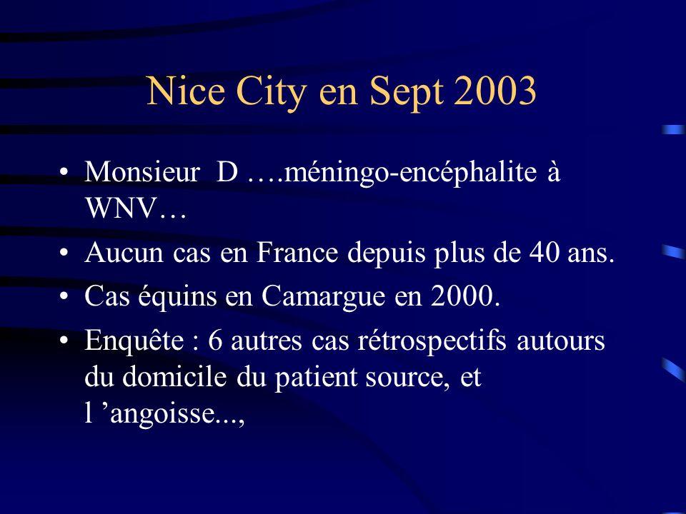 Nice City en Sept 2003 Monsieur D ….méningo-encéphalite à WNV…