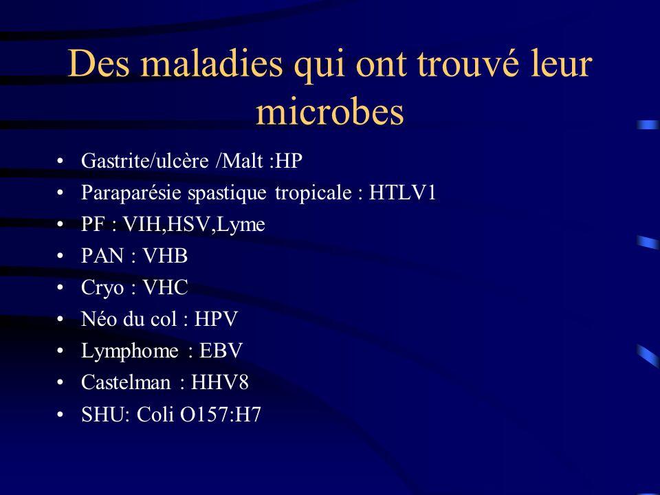 Des maladies qui ont trouvé leur microbes