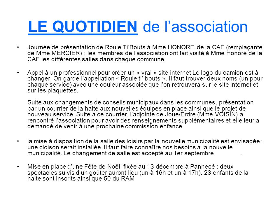 LE QUOTIDIEN de l'association