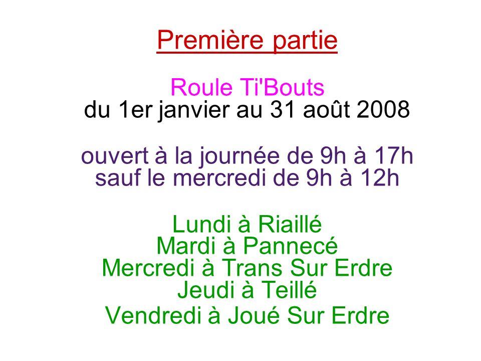 Première partie Roule Ti Bouts du 1er janvier au 31 août 2008 ouvert à la journée de 9h à 17h sauf le mercredi de 9h à 12h Lundi à Riaillé Mardi à Pannecé Mercredi à Trans Sur Erdre Jeudi à Teillé Vendredi à Joué Sur Erdre
