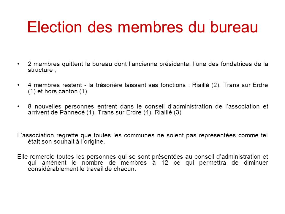 Election des membres du bureau