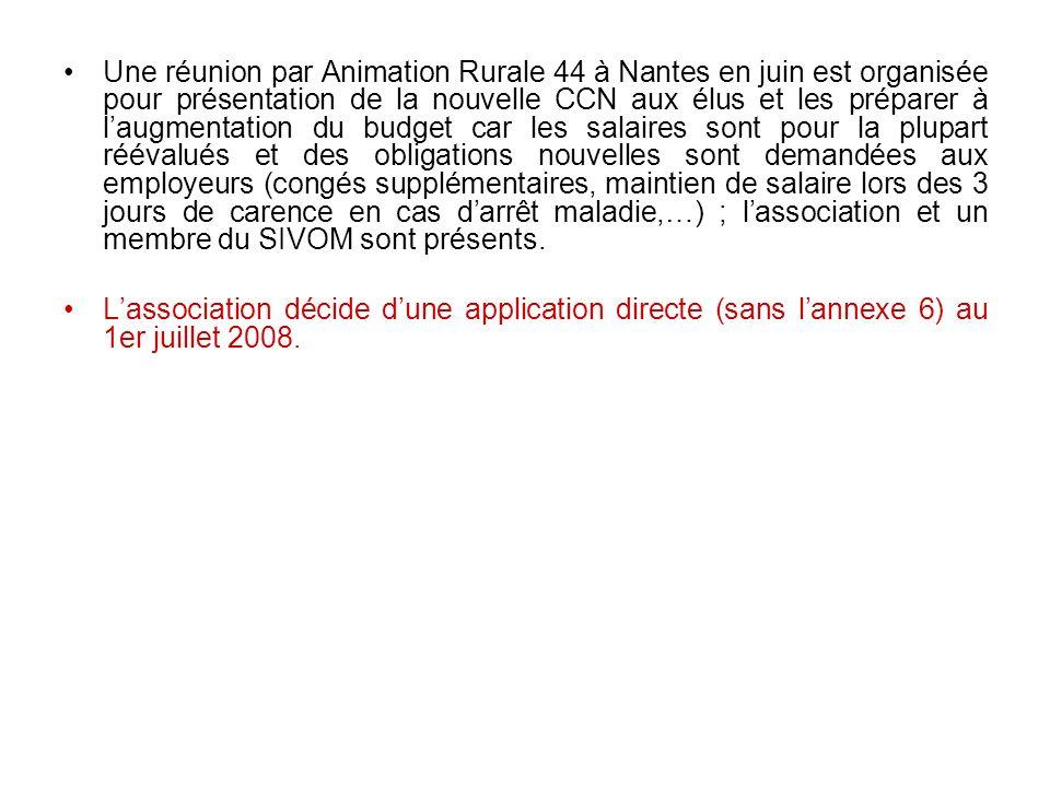 Une réunion par Animation Rurale 44 à Nantes en juin est organisée pour présentation de la nouvelle CCN aux élus et les préparer à l'augmentation du budget car les salaires sont pour la plupart réévalués et des obligations nouvelles sont demandées aux employeurs (congés supplémentaires, maintien de salaire lors des 3 jours de carence en cas d'arrêt maladie,…) ; l'association et un membre du SIVOM sont présents.