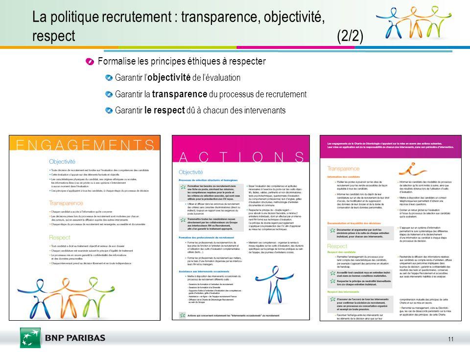 La politique recrutement : transparence, objectivité, respect (2/2)