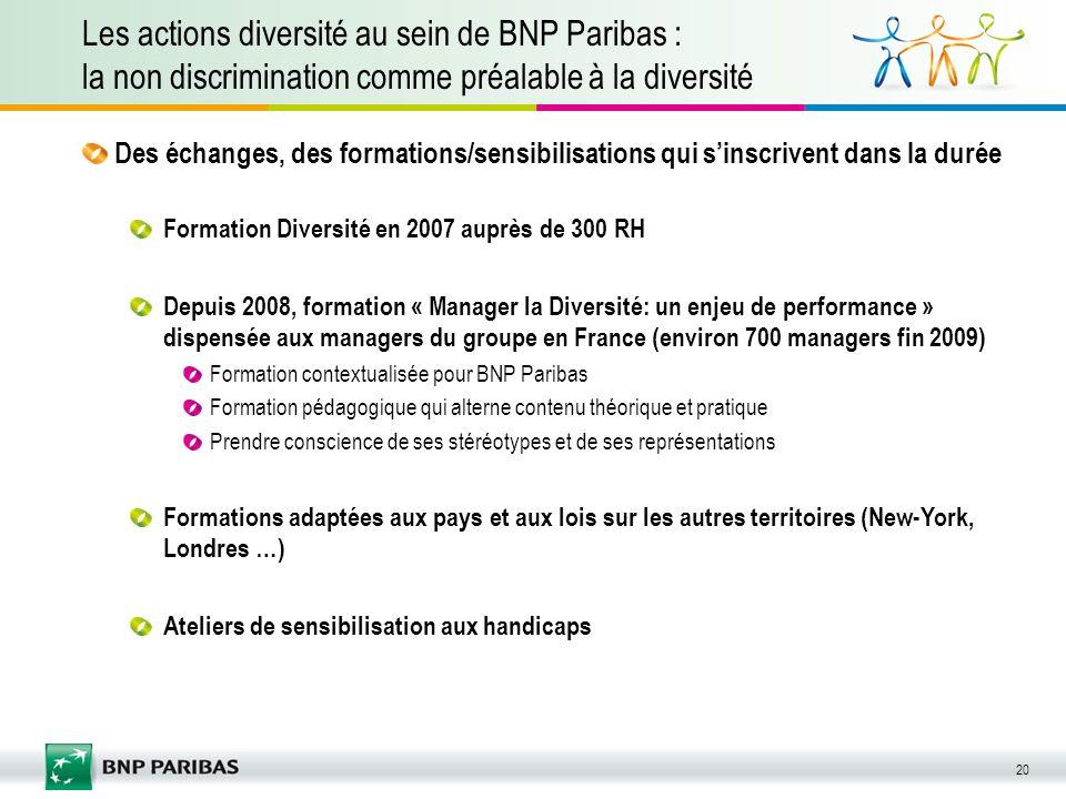 Les actions diversité au sein de BNP Paribas : la non discrimination comme préalable à la diversité