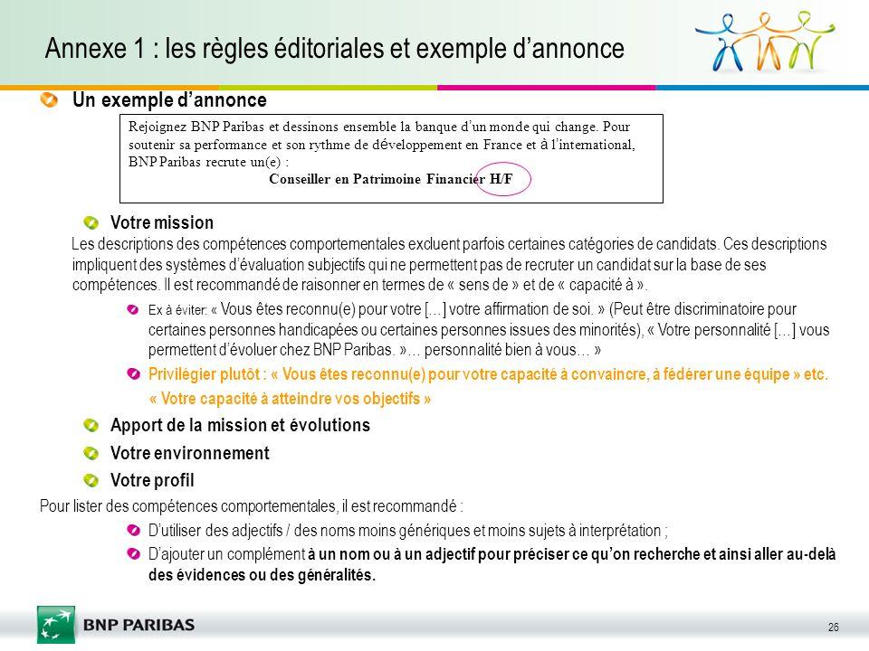 Annexe 1 : les règles éditoriales et exemple d'annonce