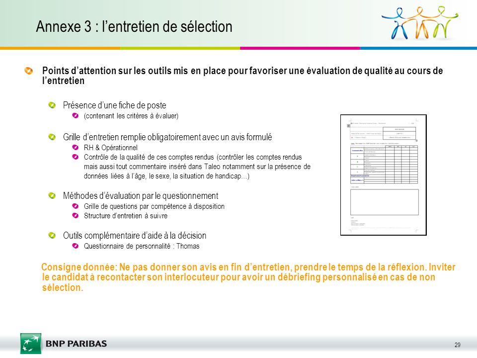 Annexe 3 : l'entretien de sélection