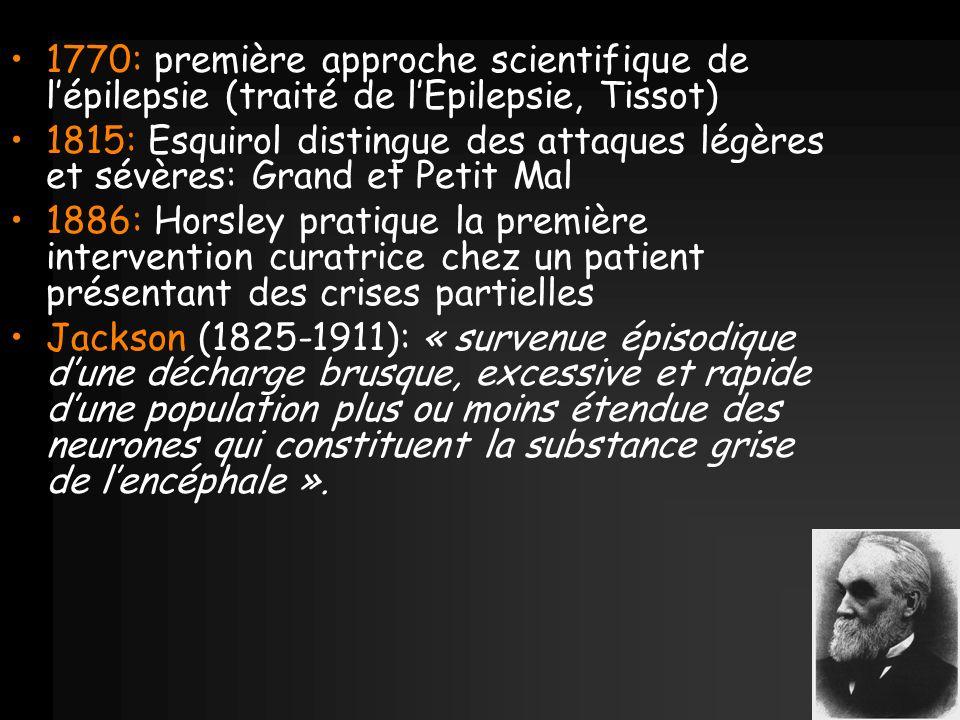 1770: première approche scientifique de l'épilepsie (traité de l'Epilepsie, Tissot)
