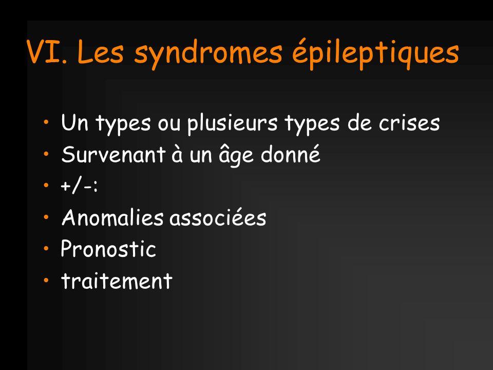 VI. Les syndromes épileptiques