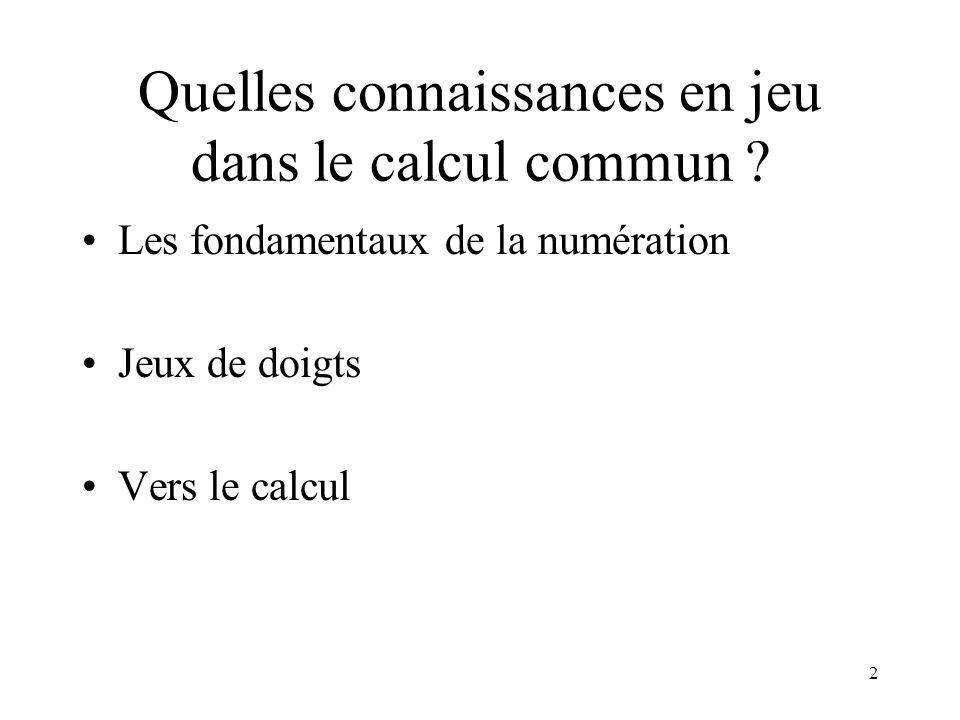 Quelles connaissances en jeu dans le calcul commun