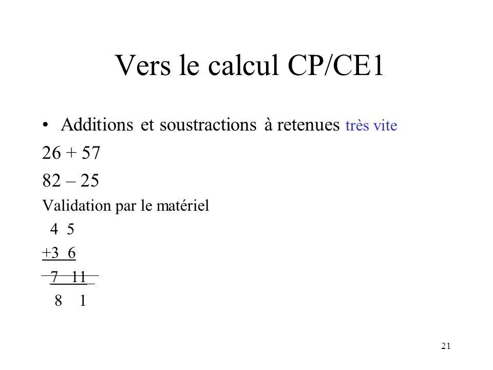 Vers le calcul CP/CE1 Additions et soustractions à retenues très vite