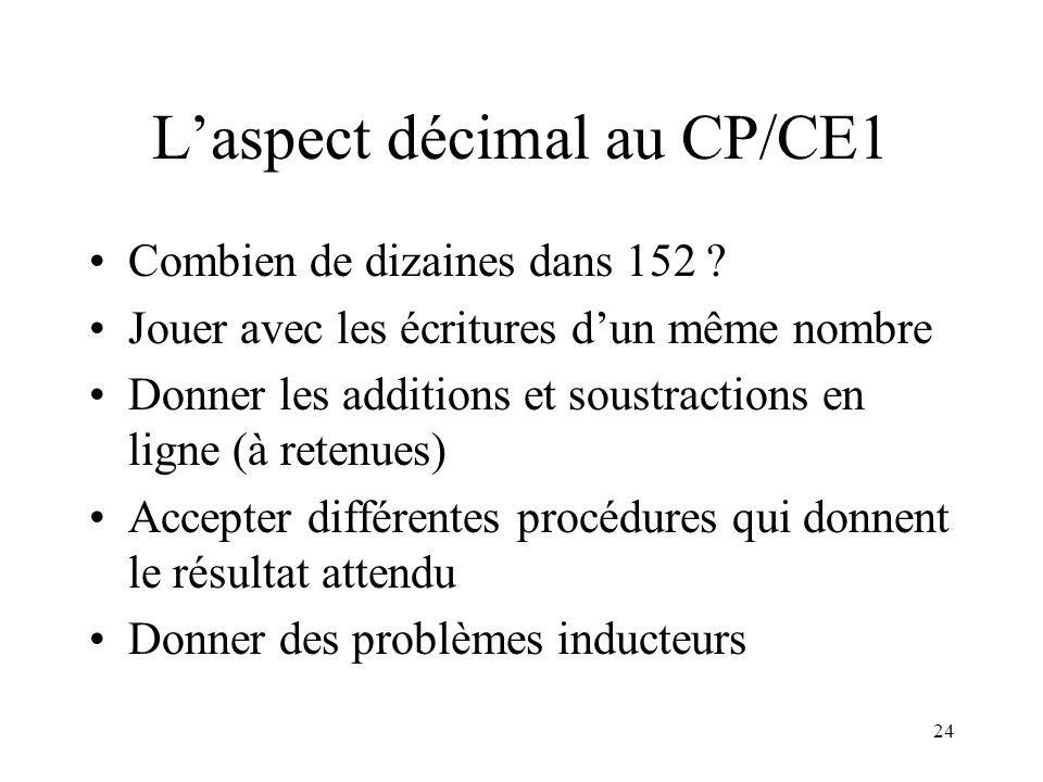 L'aspect décimal au CP/CE1