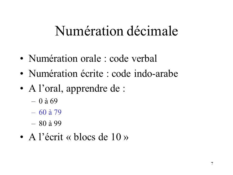 Numération décimale Numération orale : code verbal