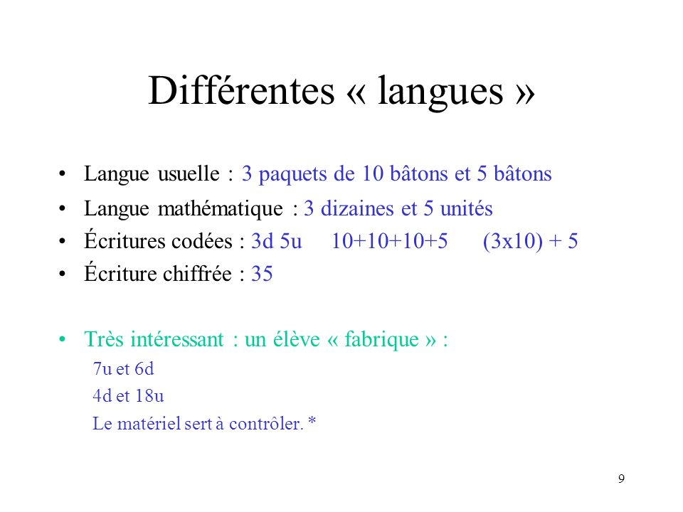 Différentes « langues »