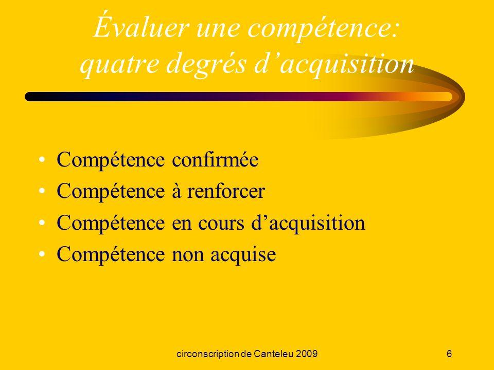Évaluer une compétence: quatre degrés d'acquisition