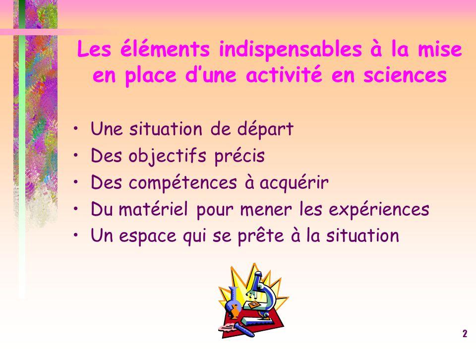 Les éléments indispensables à la mise en place d'une activité en sciences