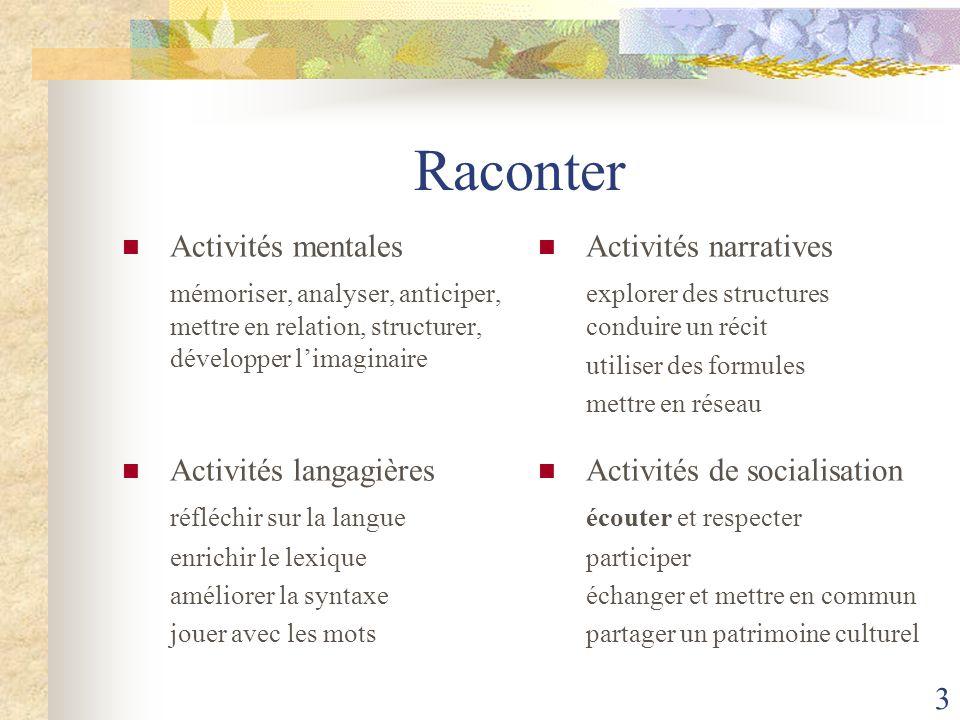 Raconter Activités mentales
